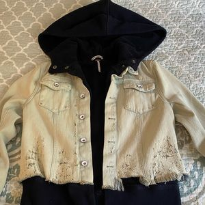 Free people distressed hoodie jeans jacket.